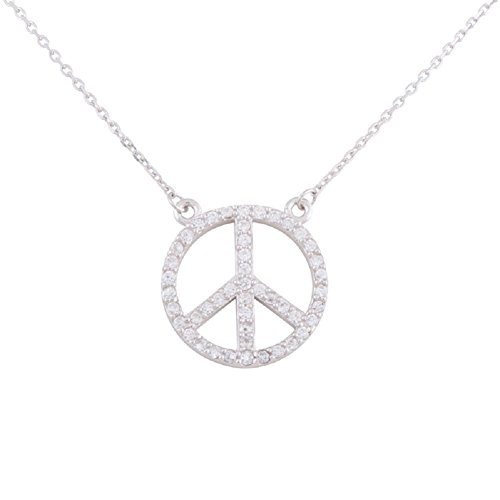 Sterling Silver Rhodium Plated Cubic Zirconia Peace Sign (Cubic Zirconia Peace Necklace)