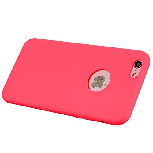 Funda iPhone 6 Plus, E-Lush Suave Silicona TPU Carcasa Ultra Delgado Flexible Gel Parachoques Goma Mate Opaco Case Cover Amortigua Golpes Protectiva Caso para iPhone 6 Plus (5.5 Pulgadas) Smartphone A Rojo