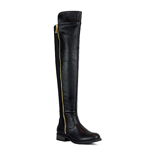 Low Heel Over The Knee Boots Women's Stretch Back Side Zipper Long Boots Black 8