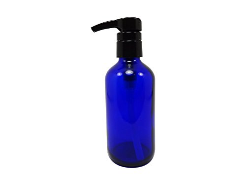 (Perfume Studio® Professional Grade Blue Cobalt Glass Boston Round Bottle with Top Quality Dispensing Pump - Perfect for Lotions, Soaps, Massage and Skin Oils, Hair Treatments and More (8 OZ, COBALT BLUE))