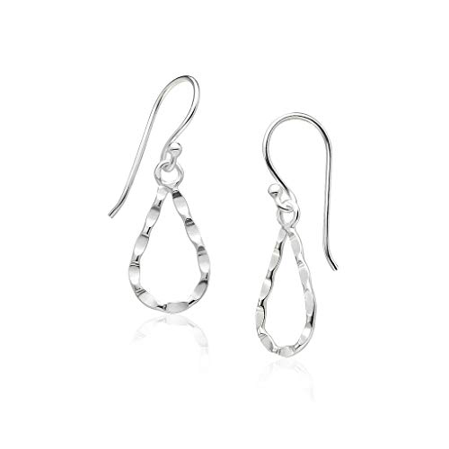 Big Apple Hoops - Genuine 925 Sterling Silver ''Basic and Simple'' Shiny Hammered-Finish Teardrop Hoop Dangle Hook Earrings | Lightweight, Delicate and Perfect Design