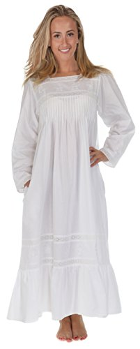 The 1 for U 100% Cotton Nightgown Violet with Pockets 7 Sizes White -