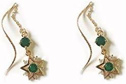 ZXF Magische Mädchen Serie Sterne Smaragd Ohr Draht Frauen Lange einfache Temperament Ohrringe Legierung vergoldete Ohrringe Earrings