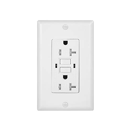 (1 Pack - GFCI Duplex Outlet Receptacle - Tamper Resistant & Weather Resistant 20-Amp/125-Volt, Self-Test Function with LED Indicator - UL Listed, cUL Listed - Wall Plate and Screws Included, White)