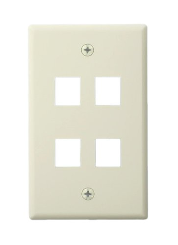 (Leviton 41080-4TL QuickPort Wallplate For Large Connectors, Single Gang, 4-Port, Light Almond)