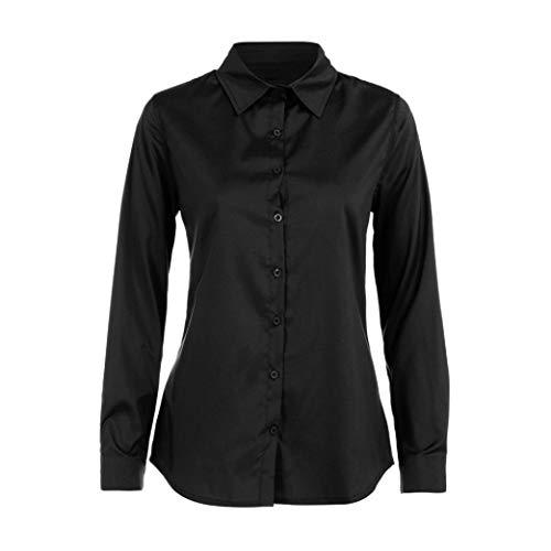 Lavoro Vendita Tops Donna Camicie Down Elegante Felpa Maniche Camicette Shirt Autunno Lunghe liquidazione di Casual ABCone Turn Collar Solido T Pullover Nero d'ufficio dY1dE