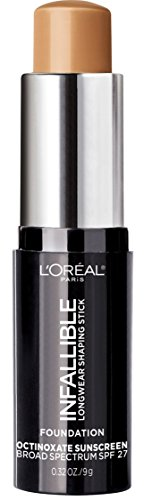 L'Oreal Paris Makeup Infallible Longwear Foundation Shaping Stick, Up to 24hr Wear, Medium to Full Coverage Cream Foundation Stick, 409 Honey, 0.32 Ounce (Best Cheap Makeup Brands Uk)