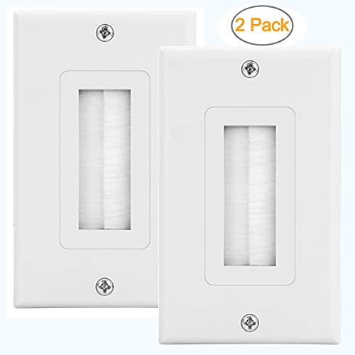 ZEXMTE 2-Pack Single Brush Wall Plate White Wall Mount Panel Cable Pass Through Insert for Wires,Speaker Wires,Cable Wall Plate for Coaxial Cables, HDTV HDMI Home Theater Systems