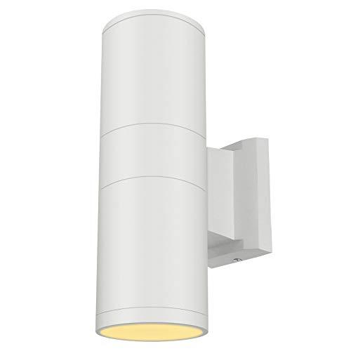 LED Up Down Wall Sconce Light Outdoor Lamp External Patio Okelux 20W Waterproof IP65 (Warm White 3000K) - White Fixture, 5 Years Warranty