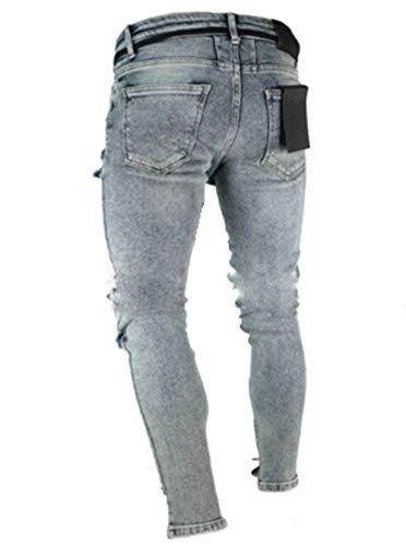 Battercake Masculinos Elásticos Grau Rasgados Cinta gris Destruidos Biker Con Pantalones Mezclilla De Skinny Cómodo rqIXcxrOtw