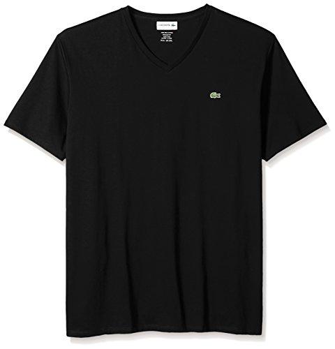 Lacoste Men's Short Sleeve V-Neck Pima Cotton Jersey T-Shirt, Black, Large ()