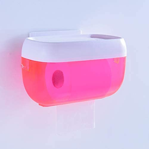 GONDD トイレットペーパーの浴室のトイレットペーパーのホールダーの壁に取り付けられた防水目に見えるロールホールダー (Color : Pink)