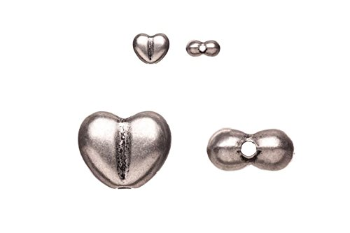 - pewter beads, burnished silver plated, puffed fancy heart, 8x10mm sold per 10pcs per pack