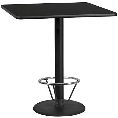 MFO 42'' Square Black Laminate Table Top with 24'' Round Bar Height Table Base and Foot Ring