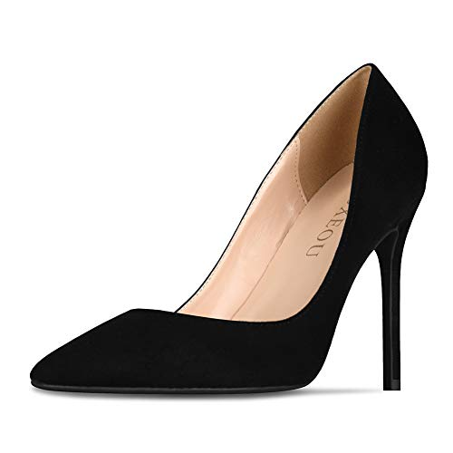 (GOXEOU Women's Classic High Heels Stiletto Pointed Closed Toe Pumps Ladies Dress Party Evening Shoes - 4inch)