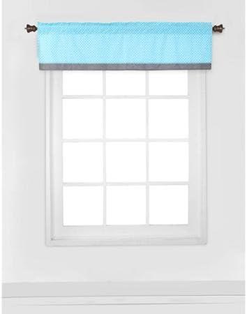 Bacati Elephants Window Valance, Aqua/lime/gray