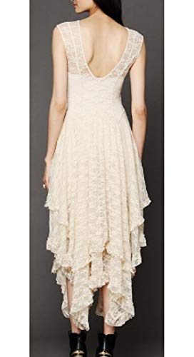 Alion Dress Tiered Sexy Party Lace Apricot Women's Sleeveless Floral Irregular Hem Long fvqHfgrw