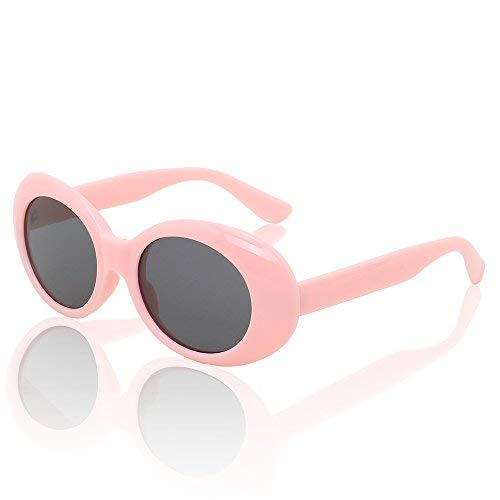 0f68254b7d5e8 Clout Goggles Women Oval Sunglasses Kurt Cobain Sun Glasses Round Retro  Shades for Men UV400 Protective Candy Color (Pink Gray)