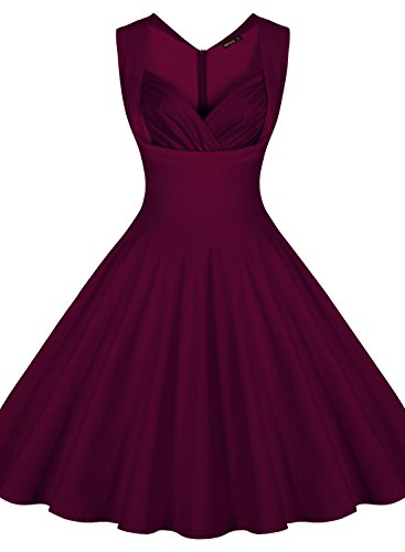 Miusol Damen Aermellos Sommerkleid 1950er Retro Cocktailkleid Petticoat Faltenrock Kleid Weinrot Groesse S