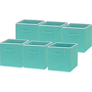 "6 Pack - SimpleHouseware Foldable Cloth Storage Cube Basket Bins Organizer, Turquoise (11"" H x 10.75"" W x 10.75"" D)"