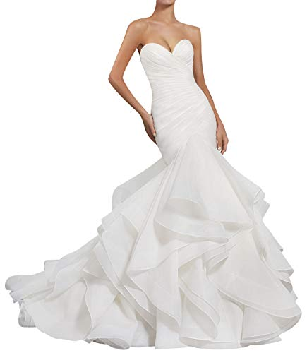 Wedding Dress Mermaid Bridal Dress Trumpet Wedding Gown for Women Ruffles White