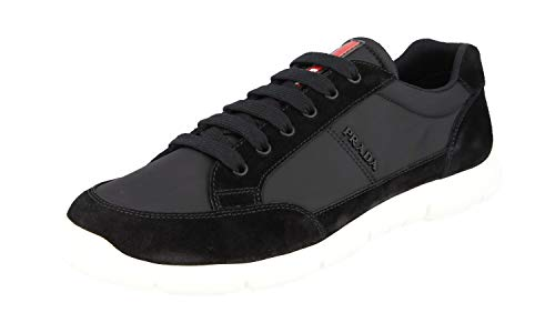 Prada Men's Black Nylon Velvet 4E3222 Low Top Sneakers Shoes, Nero, US 7.5 ()