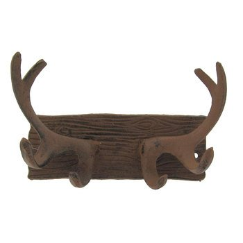 Moose House Plaque (Aunt Chris' Products - Heavy Cast Iron - Antler Wall Plaque with Hooks - Old Rustic Color Finish - Use Indoor Or Outdoor - Great For Any Home, Mancave, Hunting Shde, Ect.)