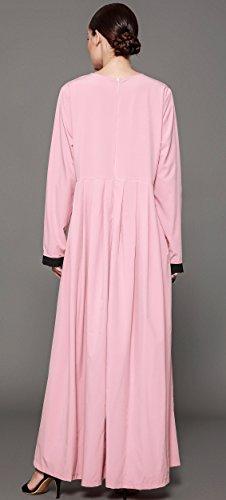 Ababalaya Women's Elegant Modest Muslim Full Length O-Neck Solid Pleated Runway Abaya S-4XL,Pink,Tag Size L = US Size 10-12 by Ababalaya (Image #1)