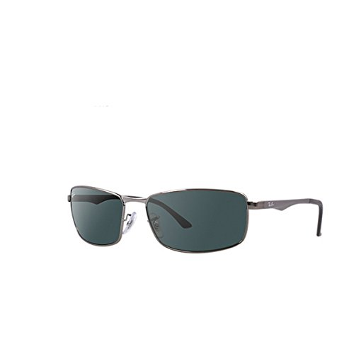 Ray-Ban Men's 0rb3498004/71640rb3498 Rectangular Sunglasses, Gunmetal, 64 mm