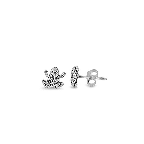 Noureda Sterling Silver Small Frog Stud Earrings with Friction Back Post, Height 7MM