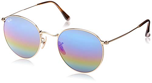 Ray-Ban RB3447 Round Metal Sunglasses, Matte Gold/Polarized Green, 50 ()