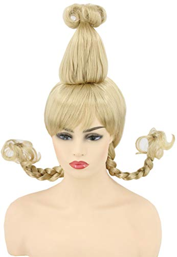 Topcosplay Womens or Girls Blonde Braids Wigs Christmas Cosutme Funny Wigs -