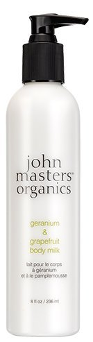 John Masters Organics Geranium and Grapefruit Body Milk (Pack of 2) With Sunflower, Coconut Oil, Aloe Leaf, Grapefruit Peel Oil, Orange Peel Oil, Lavender, Matricaria and Geraniol, 8 fl. oz. each