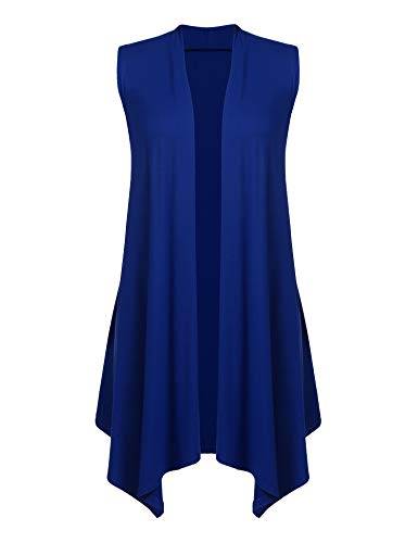 Women's Lapel Open Front Sleeveless Solid Vest Cardigan Sweater Top Navy Blue S