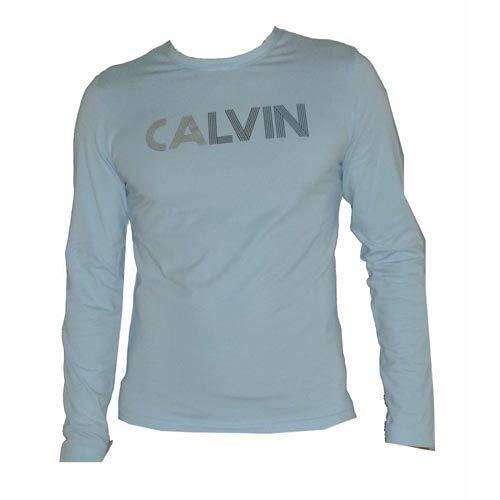 Calvin Klein CKJ Camiseta de Manga Larga Azul Cielo Cuello Redondo ...