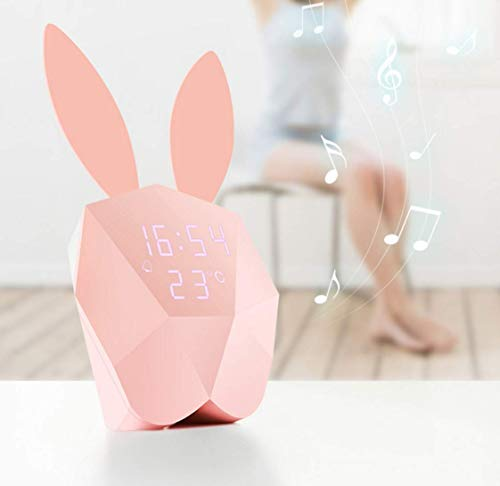 (BLAK SKY Children's Electronic Alarm Clock Night Light Awakening Led Lights Rabbit Night Light USB Rechargeable by Voice Control, Decorating Home Bedroom Baby Bedroom Children's Birthday Gift (Pink))
