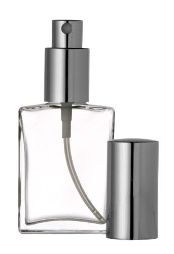 Perfume Atomizer, Flat Glass Bottle, Silver Sprayer 30ml 1 oz (Set of 3)