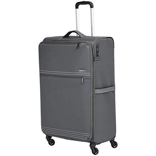(AmazonBasics Lightweight Softside Rolling Spinner Suitcase Luggage - 32 Inch, Grey)