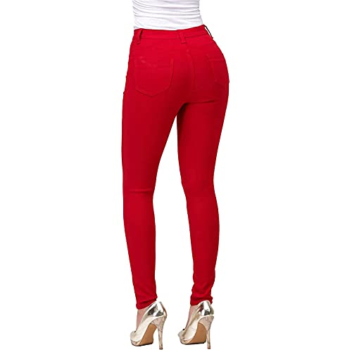 Women's Slim Trousers Fashion Womens High Waisted-Rise Stretc Skinny Jeans for Women Pant(Red,M)