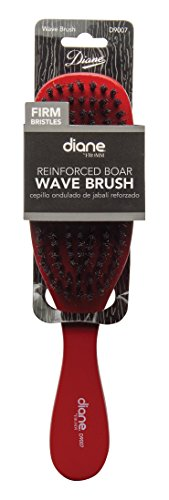 Diane Wave Firm Brush (reinforced Boar) #9007 Red, Boar bristles, reinforced bristles, detangles your hair, short hair, thick hair, long hair, straight hair, wavy hair, unisex, men and women, adults and kids, detangler, pulls out the knots in your (Firm Brush)