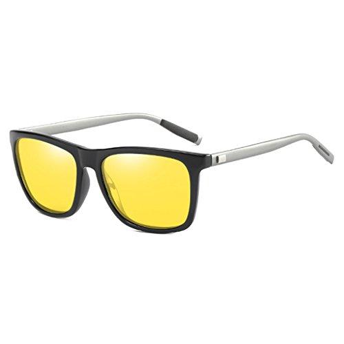 Aleación Magnesio de de Polarizadas Amarillo Colorido Lentes Light Protector Gafas Ultra de Aluminio Unisex UV400 Marco Sol Memoryee de Rectángulo PvFx0gnq
