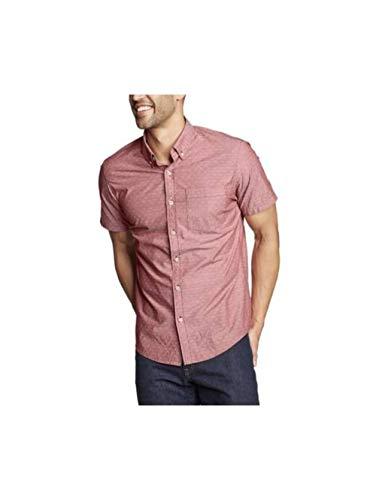 Eddie Bauer Men's Baja Short-Sleeve Shirt - Print, Dk Red Tall XL Eddie Bauer Short Sleeve Shirt