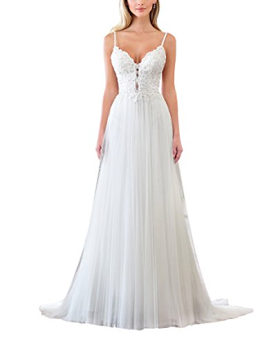LOVEONLY Women's A-Line Bodice Tulle Lace Pleated Sexy V-Neck Backless Spaghetti Beach Wedding Dress Bridal Gowns White 10 ()