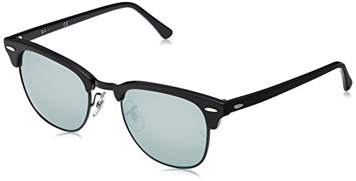 Ray-Ban Men's Clubmaster Sunglasses,51mm,Black/Light Green Mirror Silver (Ray Ban Shopping)