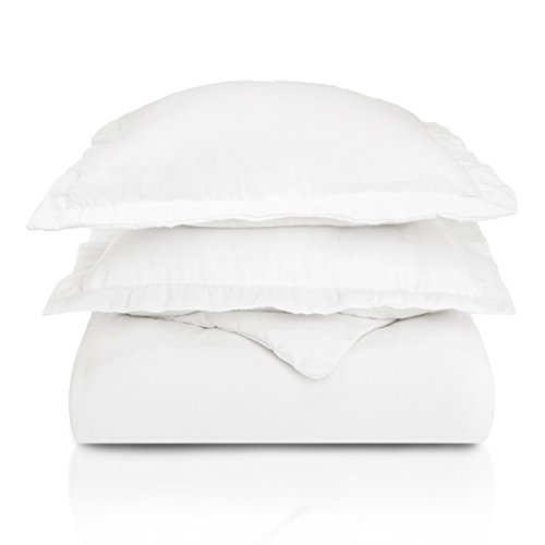 Superior Premium Cotton Flannel Duvet Cover Set, All Season 100% Brushed Cotton Flannel Bedding, 3-Piece Set with Duvet Cover and Pillow Shams - White Solid, Full/Queen