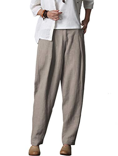 Minibee Women's Casual Linen Pants Elastic Waist Tapered Pants Trousers With Pockets Linen XL by Minibee