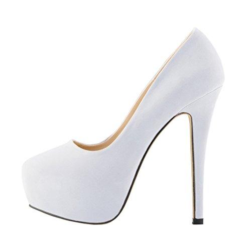 fereshte Women's Sexy Closed Toe Velvet Stiletto Heel Simple Dress Pump White xg9CMpfK