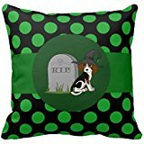 Beagle Witch With Grave Stone Green Dots R9cb8780b2cab4f04bd00eb9dd3364e05 I5fqz 8byvr Pillow Case (Gravestone Sayings)