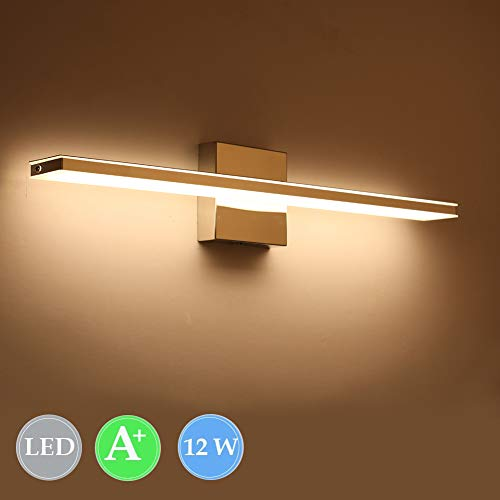 Ralbay LED Vanity Lights, 23.6 inchs 12W Bathroom Vanity Light Make Up Mirror Light Cabinet Mirror Light Picture Lights Warm White 3000K Finish Chrome Rectangular Tube ()