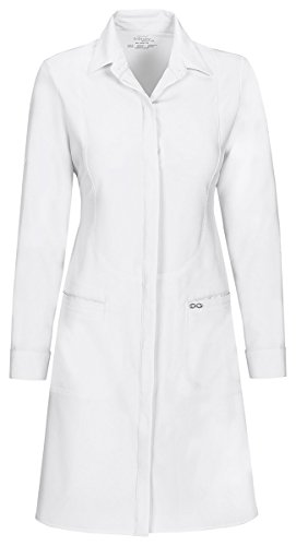 Cherokee Women's roll up Button tabs Lab Coat_White_Small,1401A ()